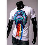 Round Neck Colorful 3D Orangutan Pattern Print Short Sleeve Men's T-Shirt deal