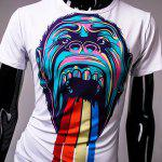 best Round Neck Colorful 3D Orangutan Pattern Print Short Sleeve Men's T-Shirt