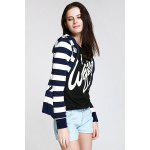 Long Sleeve Striped Zippered Women's Hoodie - BLUE AND WHITE