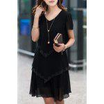 Stylish Women's Short Sleeve Pure Color Scoop Neck Dress - BLACK