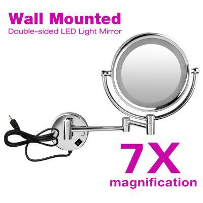 Wall Mounted LED Double Side 8.5inch 7x Magnification Mirror 1809D US