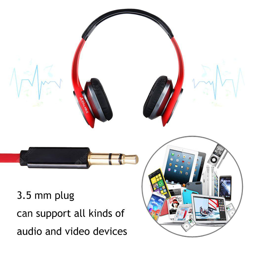 RED Syllable G700 Stereo Wireless Bluetooth 4.0 HIFI NFC Noise Cancellation 3.5mm Adjustable Headphone Earphone Headset with double Microphone for Samsung iPhone iPad MP3/MP4 Laptop PC Tablet