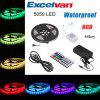 Excelvan 16.4ft 5M Waterproof Flexible strip SMD5050 300LEDs Color Changing LED Light Strip Kit, IP65, 44Key IR Remote Control+ 5A Power Adapter, Multi-color Blossom Decorative Gardens, Lawn, Patio, C