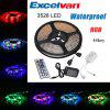 Excelvan 16.4ft 5M Waterproof Flexible strip SMD3528 RGB 300LEDs Color Changing LED Light Strip Kit, IP65 Waterproof, 44Key IR Remote Control+ 2A Power Adapter, Multi-color Blossom Decorative Gardens, - COLORMIX