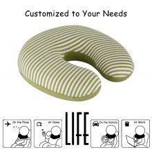 (TRAVEL PIL) LANGRIA U-Shaped Memory Foam Travel Neck Pillow - Green and White Stripes
