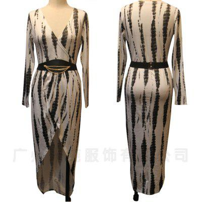 Nightclubs package hip split long style dress woman long-sleeved printed dress with belt