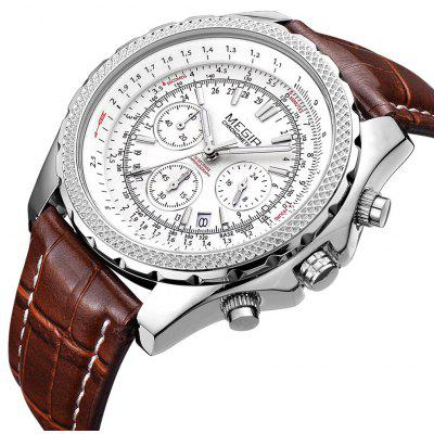 MEGIR CHRONOGRAPH 24 Hours Military  Watch Men Sport Watches Genuine Leather Luxury Brand Quartz Watches