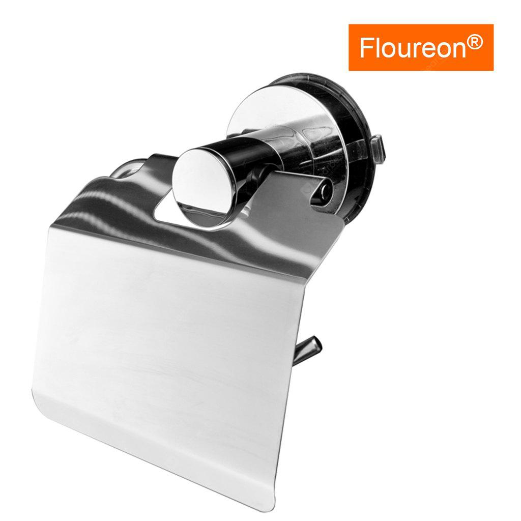 Floureon®syx131 Stainless Steel Sucker Paper Holder with Cover, Repeated Adsorption, No Drill Wall Mount, Super Suction sucker  & Stainless Steel, Durable & Dependable, Rustproof & Brushed Finish. Res