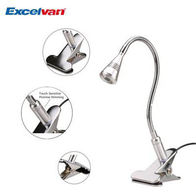 Excelvan Smart Touch Modern Eye-care Promise Dimming Table Lamp With Flexible Clip-On Clamp,3W,3000K Natural Warm White,Touch Induction Dimmer,Silver Aluminum Body,Cone-shaped Head & Gooseneck Design
