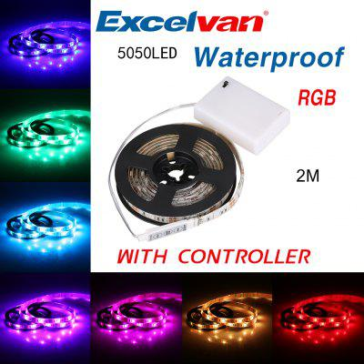 Excelvan 5050 RGB LED Light Strip Waterproof IP65 200cm/ 2M 60leds DC5V with Controller, for TV Cabinet Bike Outdoor Activities Decoration Christmas New Year Birthday Parties Events Lighting Garment D