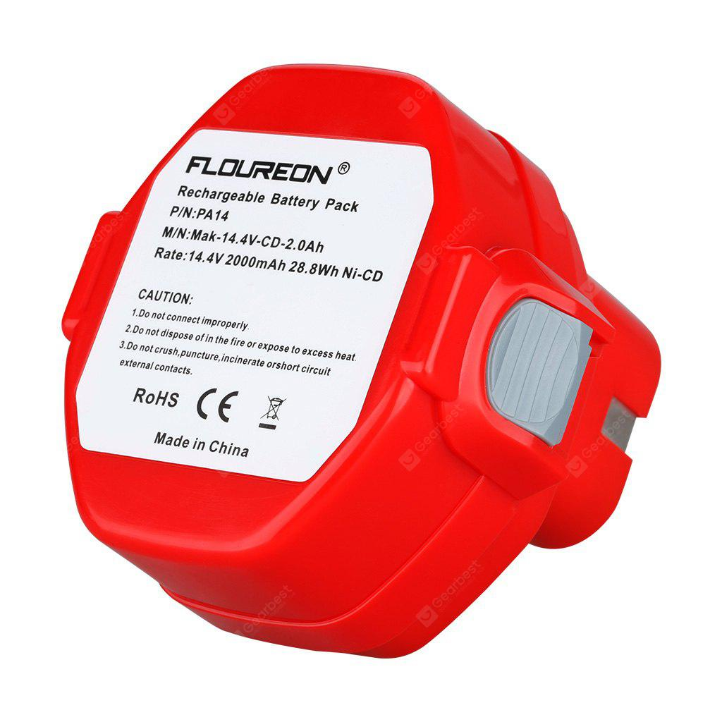 FLOUREON 14.4V 2.0Ah Ni-CD Replacement Rechargeable Battery for MAKITA PA14 JR140D 1420 1422 1433 1434 1435F 192699-A