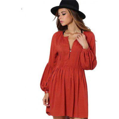 2016 new arrival retro lantern sleeve design dress woman V neck long sleeve casual  dress