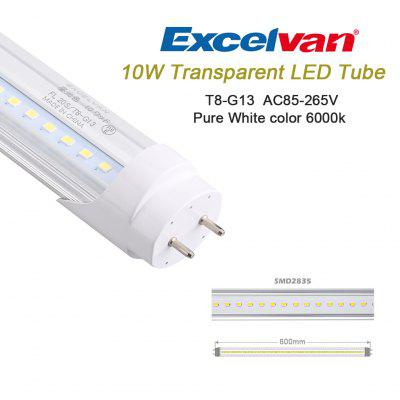 Excelvan® 60cm T8 G13 LED Light Tube,10Watt 5500K~6500K 1100LM, AC85-265V,Pure Cold White,18W Halogen Bulb Equivalent,Transparent PC+ Aluminum Tube, 1/2 Aluminum Pipe Structure. Quick Start No Flicker