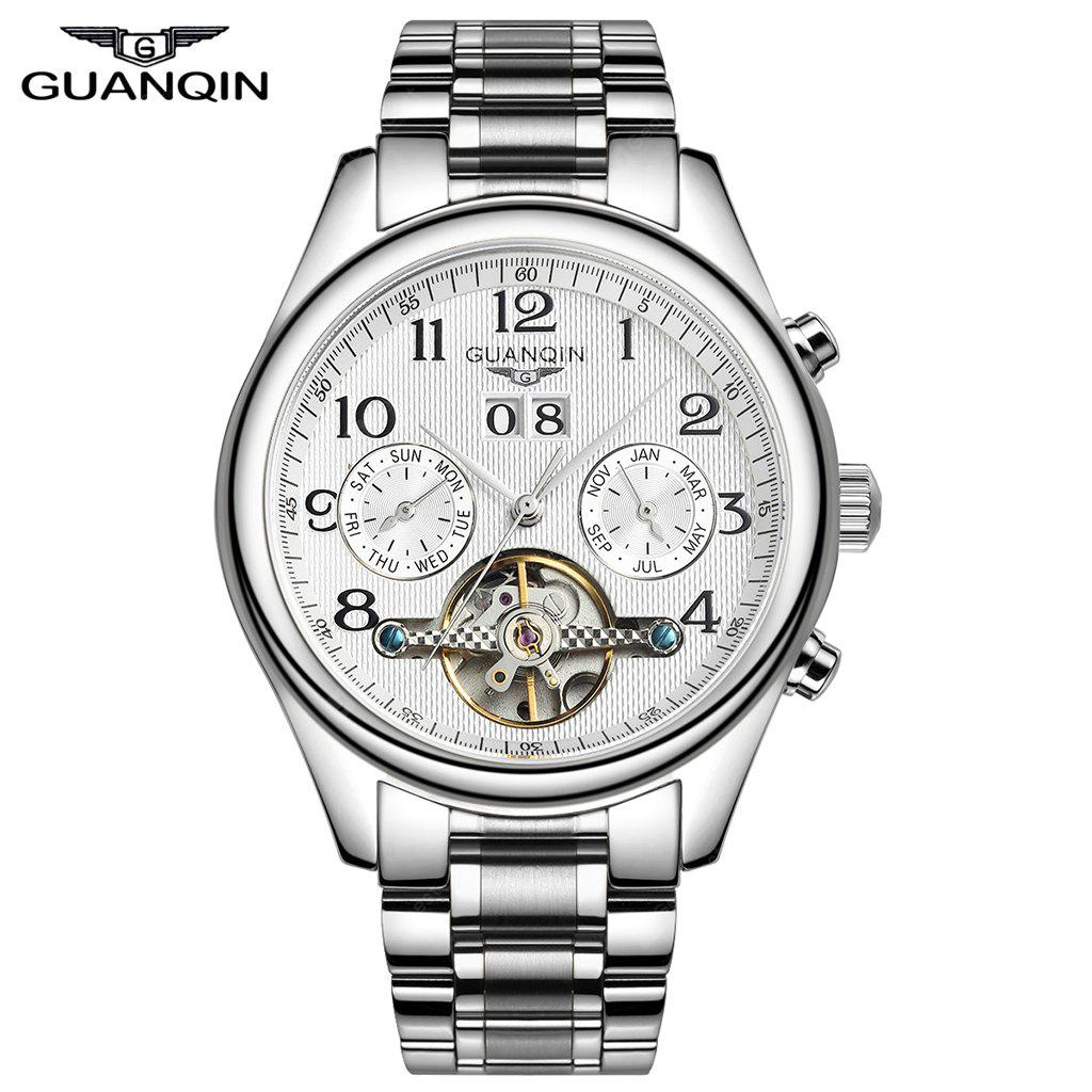 Only 5959buy Swiss brand GUANQIN Classical Tourbillon Automatic Mechanical Watch Waterproof 100m Male Wristwatch at GearBest Store with free shipping