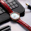 JONAS & VERUS quartz watch genuine leather strap watch with rhinestone - RED
