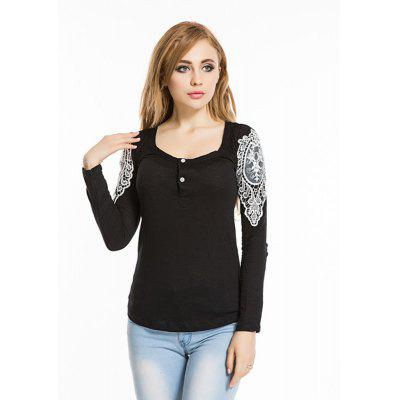 Buy BLACK Spring autumn 2016 hook flower lace slim round neck slim long sleeve top for $10.68 in GearBest store