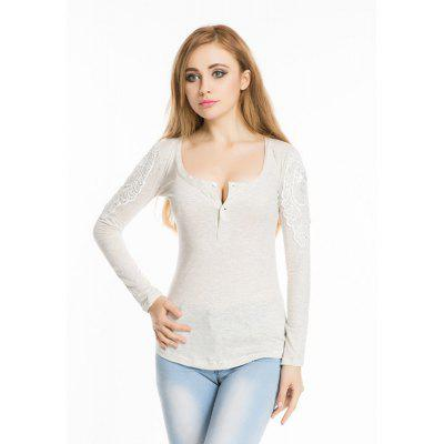 Buy WHITE Spring autumn 2016 hook flower lace slim round neck slim long sleeve top for $10.68 in GearBest store