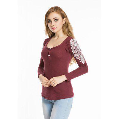Buy WINE RED Spring autumn 2016 hook flower lace slim round neck slim long sleeve top for $10.68 in GearBest store