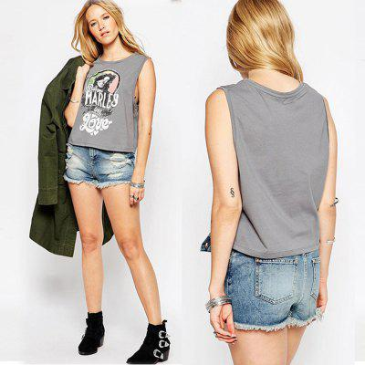 Buy GRAY 2016 fashion street printing round neck sleeveless casual woman vest for $9.19 in GearBest store