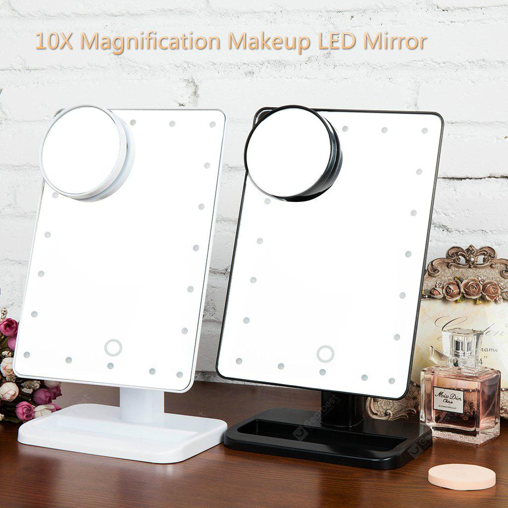 Ovonni 10X Magnifier LED Touch Screen Makeup Mirror Portable 20 LEDs Lighted Make-up Cosmetic Mirror Adjustable Vanity Tabletop Countertop