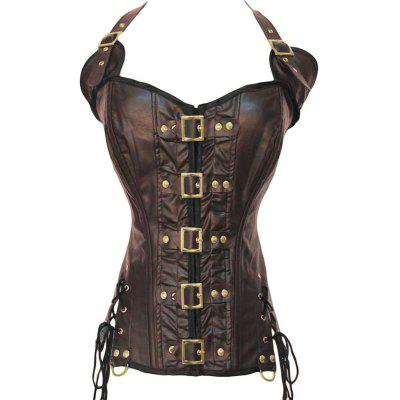 Coffee /Black Buckle-up Steampunk Corset new fashion New corset women clothTops<br>Coffee /Black Buckle-up Steampunk Corset new fashion New corset women cloth<br><br>Condition Type: New<br>Key Words: Coffee /Black Buckle-up Steampunk Corset new fashion New corset women cloth<br>Materials: Polyester, Synthetic Leather<br>Package Contents: One piece corset in a polybag,one G-string<br>Short Description: Gender:Women -Item Type:Bustiers &amp; Corsets -Decoration:Button -Material:Polyester,Synthetic Leather -Style:Sexy -Fabric Type:Knitted