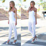 Buy 2016 lace stitching hollow-out conjoined trousers woman sexy strapless jumpsuits WHITE