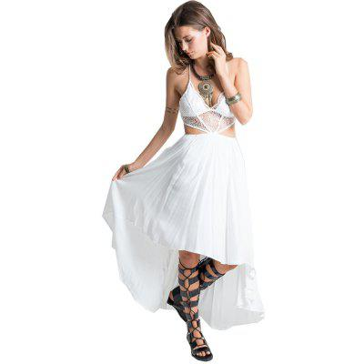 Buy WHITE L 2016 new arrival hollow lace-stitching sexy V-neck irregular hem woman cross braces dress for $19.61 in GearBest store