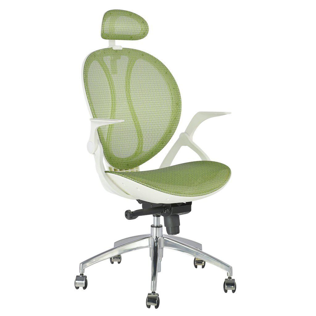 (DE MCA188 GREEN) LANGRIA High-Back Swivel Green Mesh Executive Office Chair, Computer Chair with Synchro-Tilt with 3-Position Locking, Adjustable Headrest and Armrest, 140 Kg Capacity