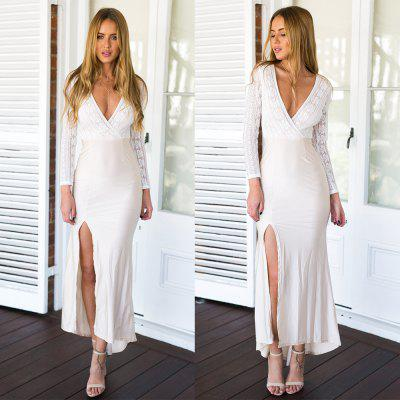 Buy WHITE 2016 new arrival sexy style deep V lace stitching high split connect long dress for $16.31 in GearBest store