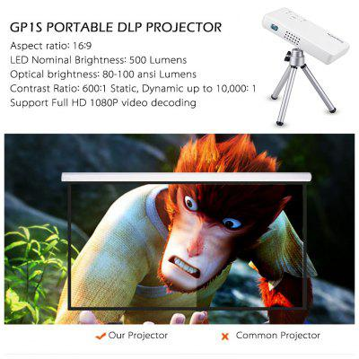 Exquizon GP1S DLP Projector AV IN/SD/USB/HDMI Home Theater 800*480 Projector