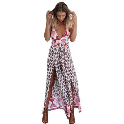 2016 fashion national printing sexy deep-V-neck long woman braces dress
