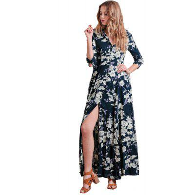 2016 spring summer new style romantic floral printing lapel button fly long sleeve woman shirt chiffon dress with pocket design