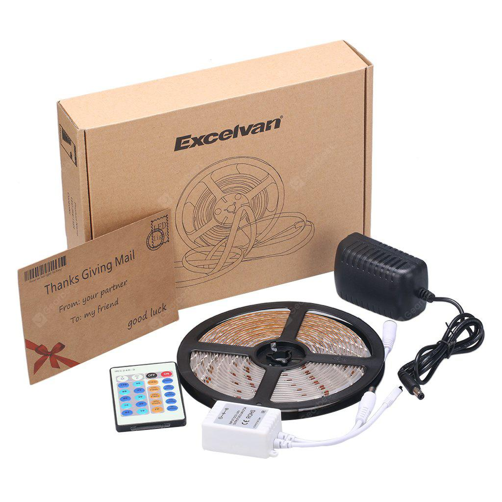 Excelvan® 16.4ft 5M Waterproof Flexible strip SMD3528 300LEDs White LED Light Strip Kit, IP65, Brightness Dimmable, 10 Lighting Modes Optional, 24Key IR Remote Control+ 2A Power Adapter, Pure White Co