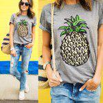 2016 Spring summer round neck pineapple printing gray woman T-shirt - GRAY