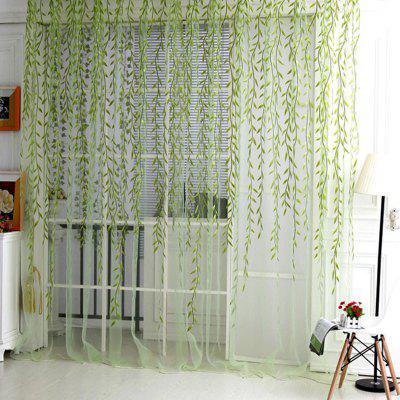 Buy GREEN (CURTAIN WILLOW G) Finether Shimmery Willow Branch Printed Rod-Pocket Sheer Curtain Single Voile Curtain Panel, 78.8x39.4 Inches, Green for $7.27 in GearBest store