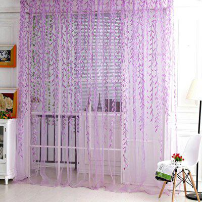 (CURTAIN WILLOW P) Finether Shimmery Willow Branch Printed Rod-Pocket Sheer Curtain Single Voile Curtain Panel, 78.8 x 39.4 Inches, Purple