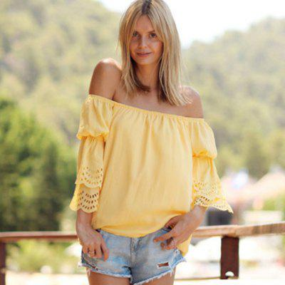 2016 new arrival sexy a word shoulder design woman fashion off the shoulder 3/4 sleeved blouse