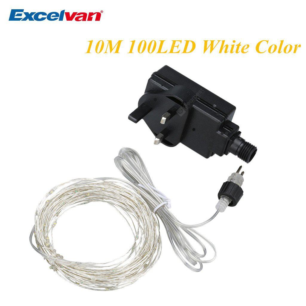 Excelvan® 10M 100 LED Copper String Lights, White Color, Flexible Silver Wire Light LED Starry Lights Fairy Lights Tiny Decorative Lights, with 12V Power Adapter, For Indoor Use, Wedding, Christmas, N