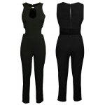 2016 new style sexy V-neck hollow out design backless woman zipper jumpsuit - SIYAH