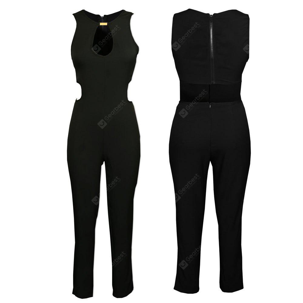 2016 new style sexy V-neck hollow out design backless woman zipper jumpsuit