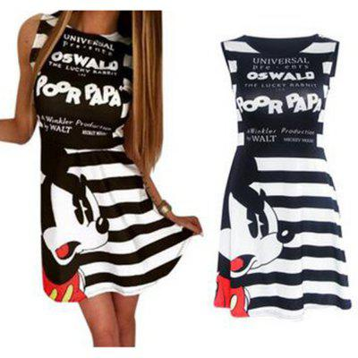 2016 new arrival summer style stripe and mickey printed design woman sleeveless fashion sport dress