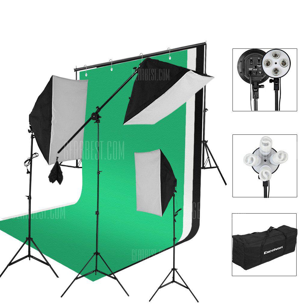 Excelvan SHLP-045 2000W Photo Studio Continuous Lighting Kit- 3 Color Backdrop & Background Support+ 4-Socket & Auto Pop-Up Softbox+ Light Stand + 45w Lamp+ Portable Bag with EU Plug