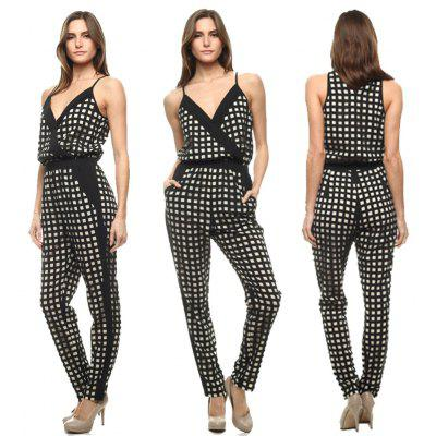 Buy AS THE PICTURE M 2016 new arrival sport style sexy deep v design woman casual grid printed sleeveless fashion suit for $18.13 in GearBest store