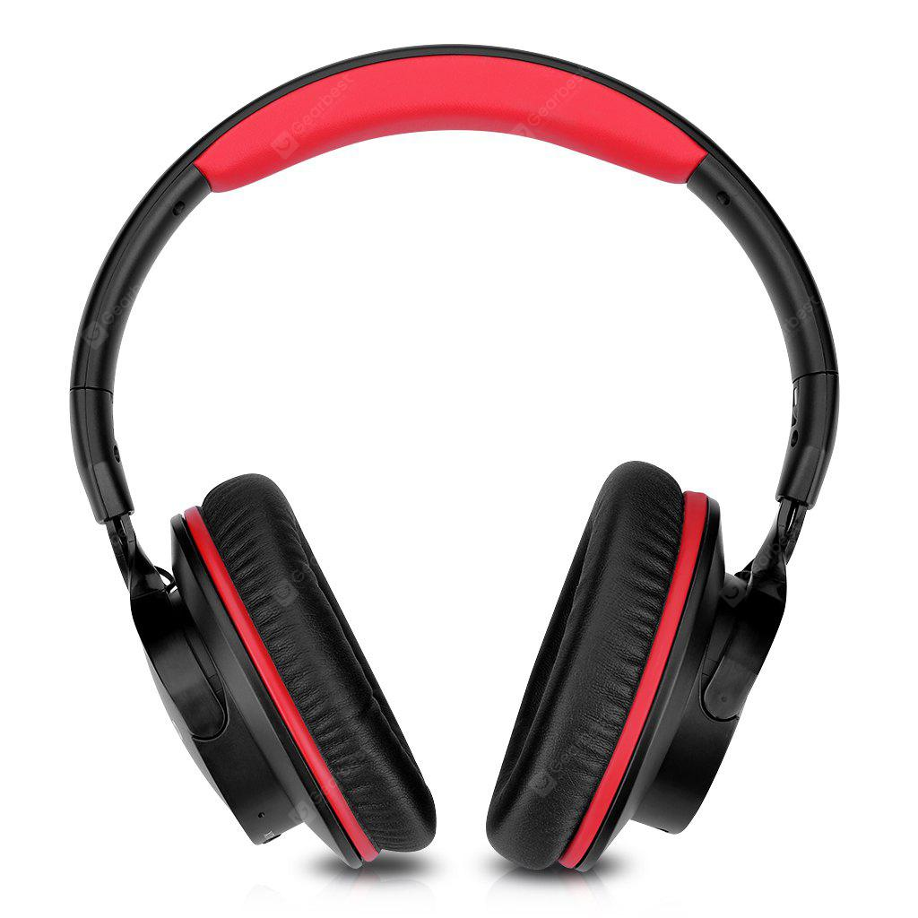 RED Zinsoko 861 Bluetooth 4.1 Wireless 3.5mm Audio Cable Wired Headphone Noise-Cancelling over Ear Headset Voice Prompts Stereo Bass Sound Large Power Compatity 18H Play Time 20H Talk Time 300+H Standby T