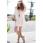 2016 New Arrival Women Sexy Dress Lace Stiching Spaghetti Strap Off Shoulder Chiffion Mini Loose Fashion Dress - APRICOT