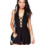 2016 new arrival summer sexy deep v and backless design woman fashion beach style jumpsuits - SIYAH
