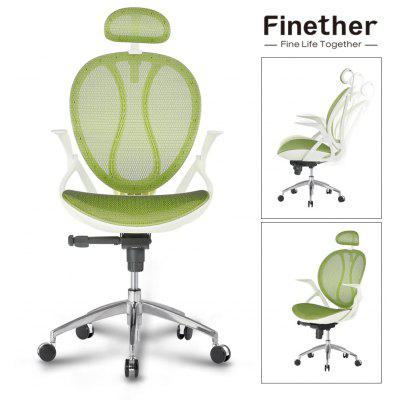 (IT MCA188 GREEN) Finether High-Back Swivel Green Mesh Executive Office Chair, Computer Chair with Synchro-Tilt with 3-Position Locking, Adjustable Headrest and Armrest, 140 Kg Capacity