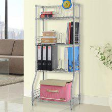 (BOOK RACK 4) LANGRIA 4-Tier Wire Bookshelf Rack Storage Organization Rack Shelving Unit, Silver
