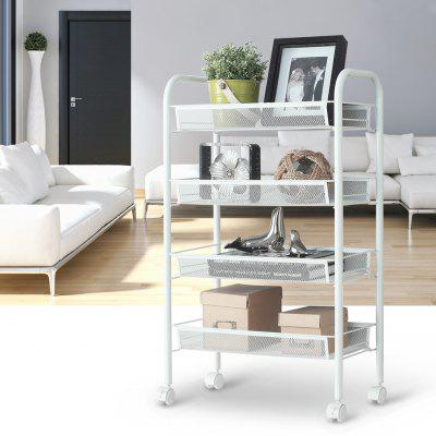 office trolley cart. (Cart 4 White) LANGRIA 4-Tier Metal Mesh Rolling Cart Trolley For Kitchen Office R