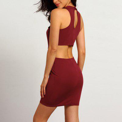 Buy WINE RED S 2016 new arrival summer sexy hollow out and backless design woman fashion hanged hip dress for $9.18 in GearBest store